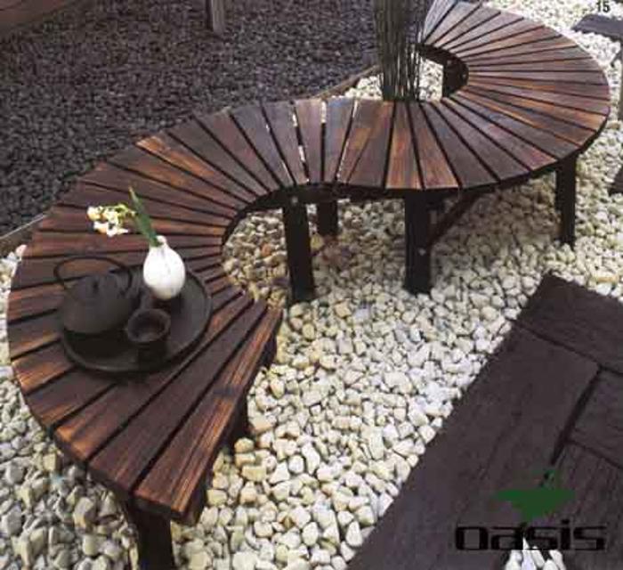 绿洲园林定制户外庭院休闲田园防腐木座椅