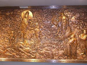 金属艺术壁饰生产厂家御铜坊园林纯紫铜雕雕塑壁饰画