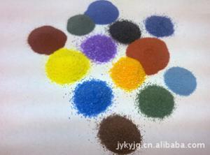 染色彩砂 顏色豐富、與各種樹脂兼容性好、高耐酸性、高耐堿性、高耐化學溶劑性、高耐熱水性 靈壽縣金源礦業加工廠
