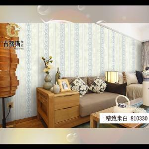 无纺布墙纸复古作旧简欧竖条纹壁纸 客厅 卧室 书房 餐厅