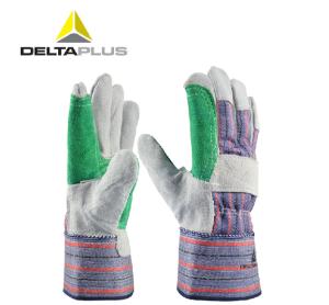 代爾塔勞保帆布手套雙層牛皮耐磨損防穿刺全棉掌背工作加工工廠