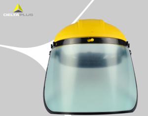 01304 头箍式PC防化防冲击面罩 实验室防护面屏 防化学?#23665;?#38754;屏 黄色/黑色