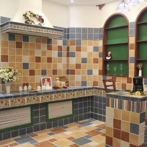 热卖全瓷仿古砖150 厨卫瓷砖六彩砂岩地砖防滑美式地中海欧式墙砖