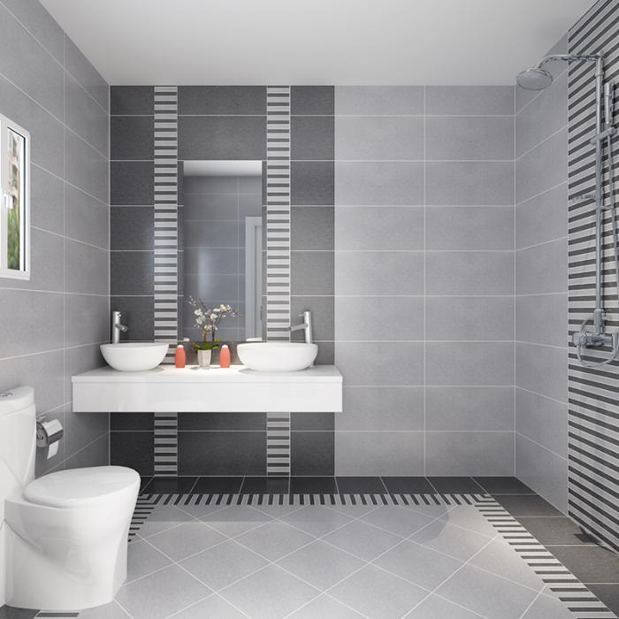 卫生间瓷砖 内墙砖 黑白灰地砖简约厨卫仿古砖300600