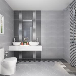 卫生间瓷砖 内墙砖 黑白灰地砖简约厨卫仿古砖300600背景墙文化石