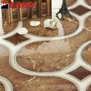 健唯 抛晶砖镀金 抛金砖 拼花砖 艺术地面 客厅地毯砖