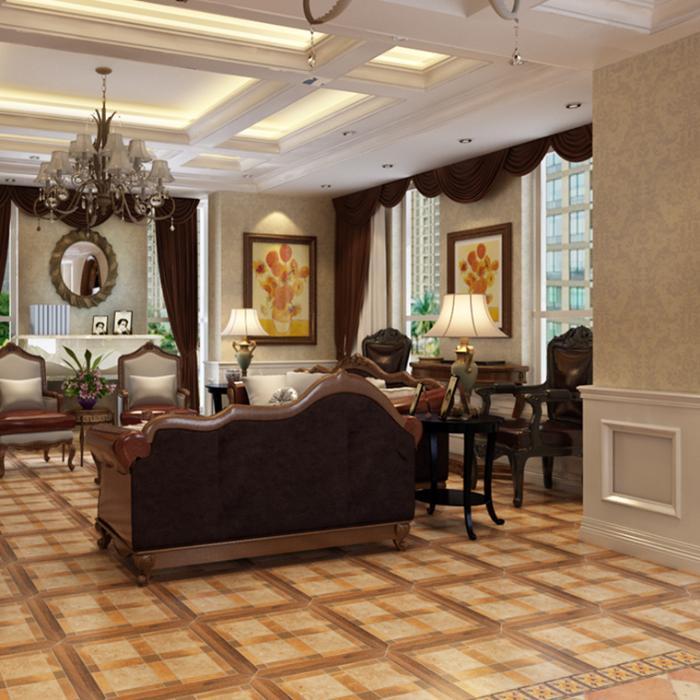 欧式田园卧室防滑地板砖