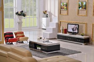现代家具 大理石不锈钢电视茶几组合