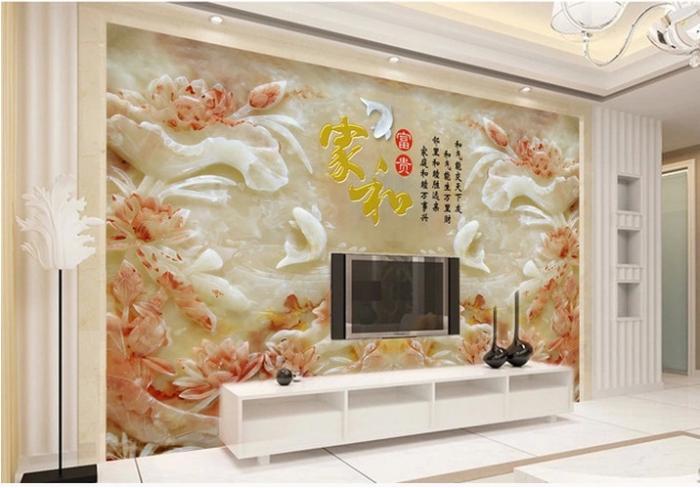瓷砖电视背景墙仿玉雕刻