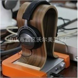 (厂家直销)德国设计头戴耳机胡桃木U型木质耳机架 展示架子
