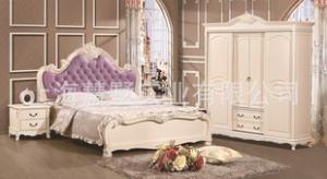 上海厂家豪华欧式实木板式组合软包床
