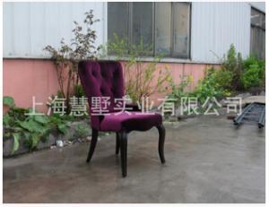 上海工廠新款歐式新古典現代別墅公寓酒店會所酒吧實木布藝軟包椅