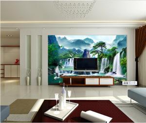 瓷砖背景墙 大型山水画 流水生财