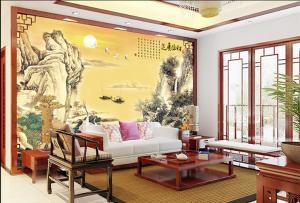 高端瓷砖电视背景墙财源广进 装饰背景墙