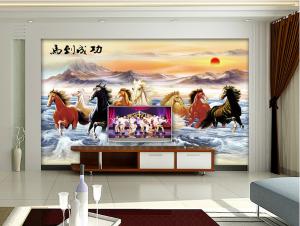 厂家定制田园风格室内电视背景墙艺术高端瓷砖幻彩马到成功山水