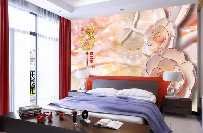 无缝个性墙布 墙纸 沙发电视背景墙 3D家和富贵 厂家定制一件代发