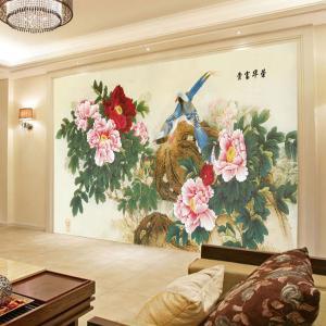 无缝墙纸墙布卧室背景墙壁画荣华富贵厂家个性定制一件代发ZS-025