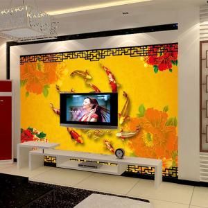 无缝墙纸墙布 卧室背景墙大型壁画富贵有余厂家个性定制一件代发