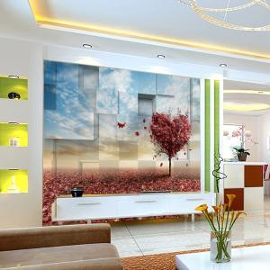 个性无缝墙纸墙布 电视背景 墙 3D立体爱心枫叶 厂家定制一件代发