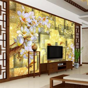 3D电视背景墙 无缝墙纸墙布壁画 金玉兰花 厂家个性定制一件代发