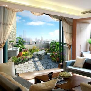 3D无缝墙布 客厅电视背景墙壁画 空中阳台个性定制厂家一件代发