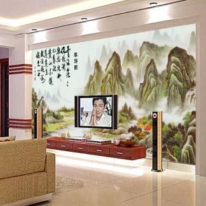 个性无缝墙纸墙布 卧室背景墙大型壁画 山水画 厂家定制一件代发