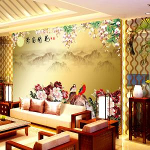 个性无缝墙纸墙布 电视背景墙大型壁画 花开富贵厂家定制一件代发