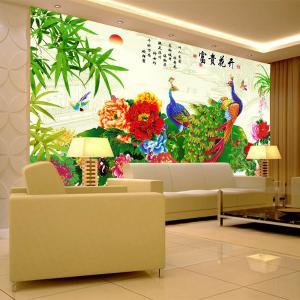 个性无缝墙纸 无缝墙布 电视背景墙 富贵花开 厂家定制一件代发