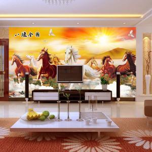 无缝墙布墙纸壁画 电视背景墙八骏图 厂家个性定制一件代发