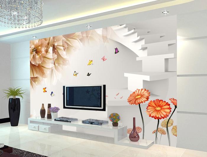 客厅麻布墙布效果图