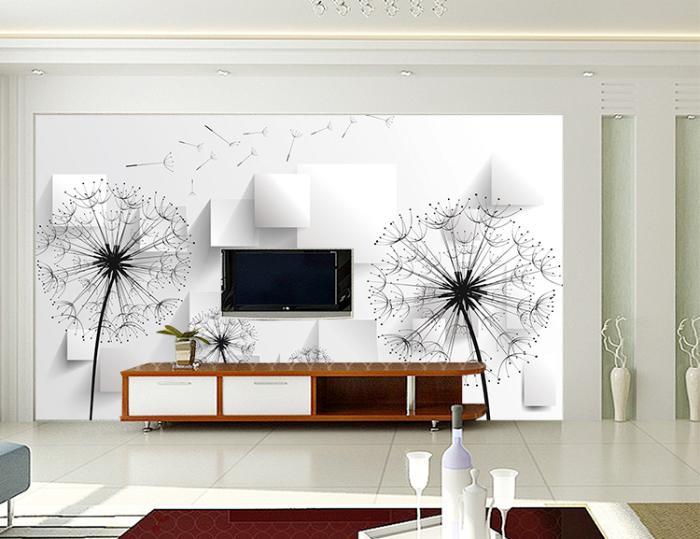 个性无缝墙布墙纸壁画 电视背景墙 3d蒲公英 厂家定制一件代发