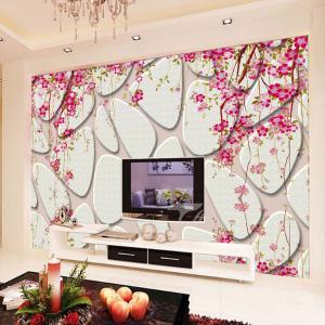 无缝墙布 墙纸 石壁花开沙发电视背景墙 大型壁画 个性定制厂家