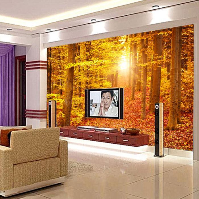 黄色树林沙发电视背景墙