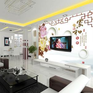 无缝墙布 墙纸 家和富贵沙发电视背景墙 壁画 厂家个性定制