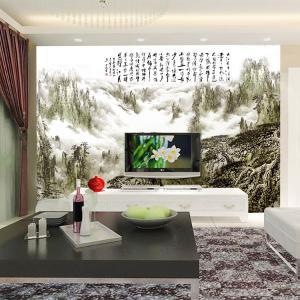 无缝墙布 飘渺仙山沙发电视背景墙 墙纸 大型壁画 个性定制