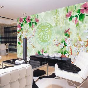 无缝墙布 墙纸 吉祥富贵沙发电视背景墙 个性定制 壁画 厂家直销