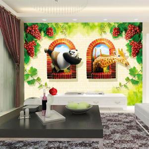 无缝墙布 3D卡通动物 卧室沙发背景墙 墙纸 壁画 个性定制