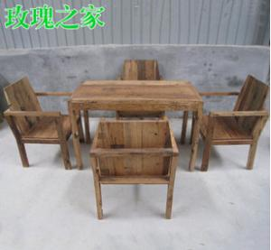 成套桌椅定制 酒館茶樓桌椅 四人長方形桌椅 實木小戶型飯桌