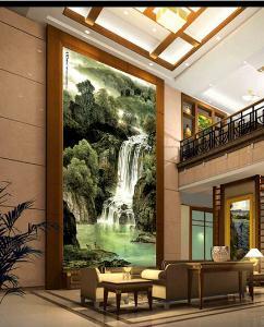 中式山水画瓷砖背景墙玄关壁画