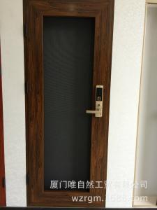 唯自然最新款指纹感应带密码锁防盗金刚网平开门