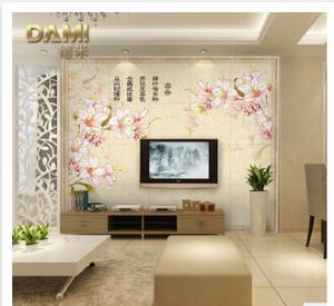 电视背景墙瓷砖 中式简约艺术客厅墙砖花样诗情 彩雕背景墙批发