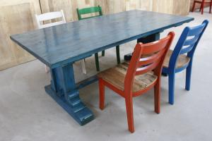 定制老榆木藍色大方腿酒店餐桌 純實木老門板桌子 榆木仿古大餐桌