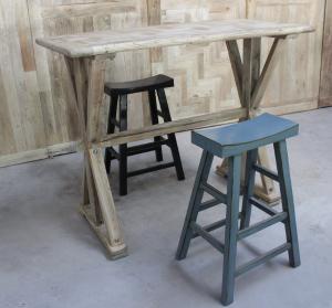 正品玫瑰之家大师设计老榆木老门板纯实木免漆吧桌高档大气高吧台