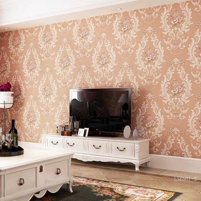 欧式复古圆网工艺大马士革花纹图案发泡无纺布壁纸