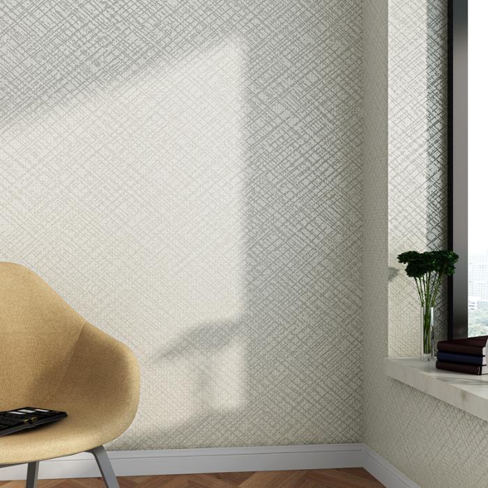 简约现代素色纱线纹理无规则线条无纺布发泡客厅卧室壁纸