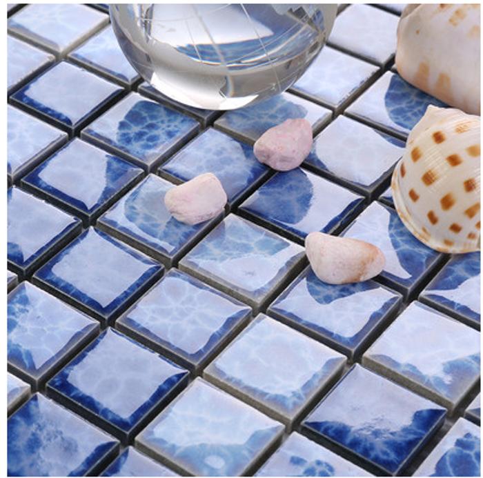 泳池砖 蓝色陶瓷马赛克 窑变釉闪电混贴23x23 浴室马赛克墙砖