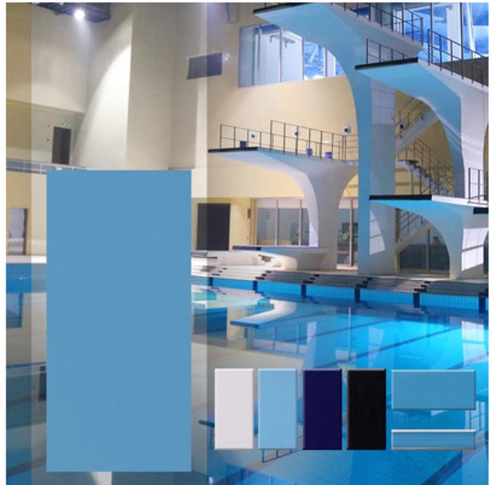 泳池砖 游泳池陶瓷地砖 浴室防滑地砖 天蓝色 水槽壁砖115*240mm