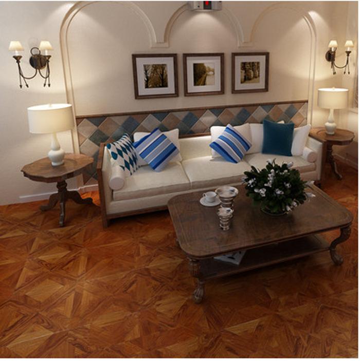 亚花梨拼花系列 客厅卧室书房茶室多层实木地板15mm