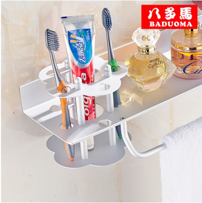 卫生间置物架 浴室多功能托盘 毛巾架 太空铝吹风机架