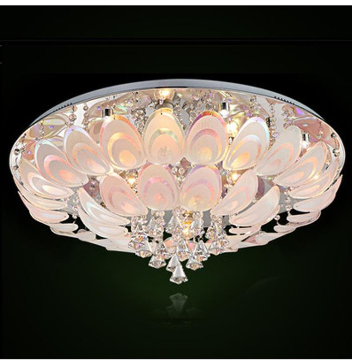 客厅水晶吸顶灯Φ600*H265 大堂圆形LED水晶灯 孔雀 灯具 多段分层灯光调控